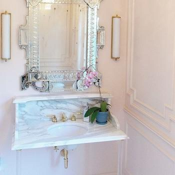 Pink Bathrooms, Transitional, bathroom, Farrow and Ball Pink Ground, Christine Dovey