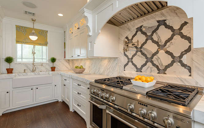 Marble Quatrefoil Tiles Transitional Kitchen Space