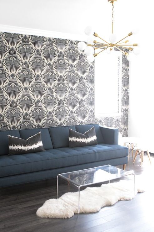 Surprising Navy Lotus Wallpaper Contemporary Living Room Owens Evergreenethics Interior Chair Design Evergreenethicsorg