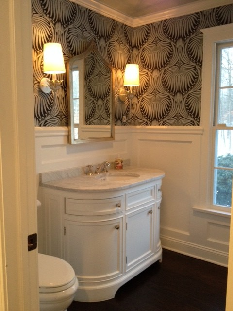 Odeon single vanity sink transitional bathroom space for Powder room vanities for small spaces