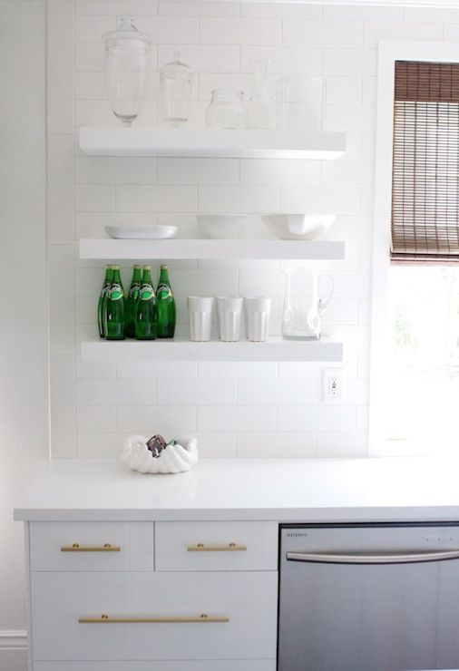 White Kitchen Shelf white kitchen cabinets with brass hardware design ideas