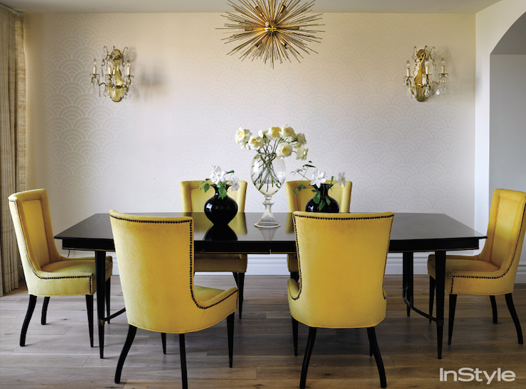 Yellow dining chairs transitional dining room for Yellow dining room ideas
