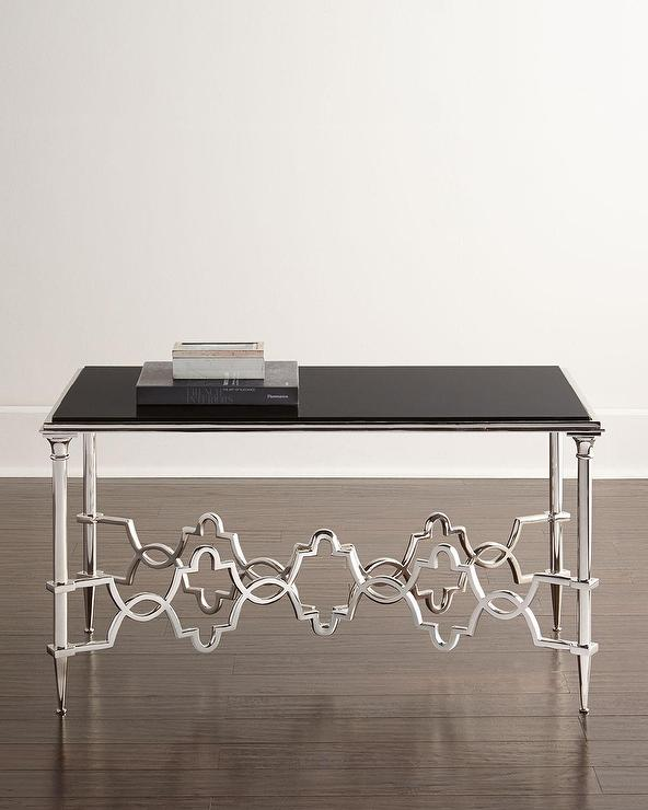 Etched Granite Coffee Table In Black
