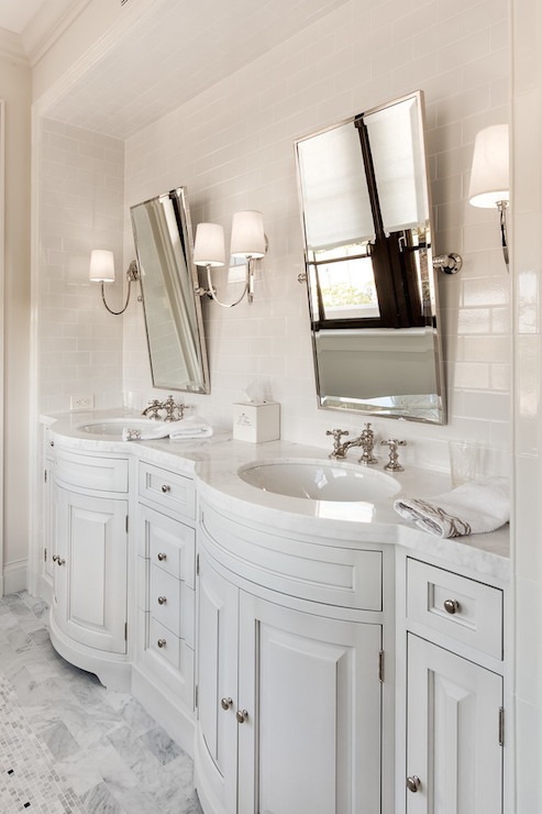 Beautiful Bathroom With Built In Light Gray Bow Front Double Vanity With  His And Hers Sinks Framed By White Marble Counters Alongside A Subway Tiled  Alcove ...