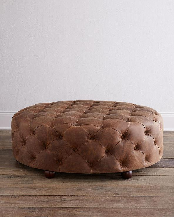 Admirable Maddie Brown Leather Ottoman Caraccident5 Cool Chair Designs And Ideas Caraccident5Info