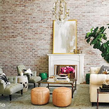 Cream Chesterfield Sofa, Transitional, living room, InStyle Magazine