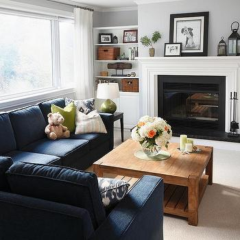 Navy Living Room Accents Design Ideas