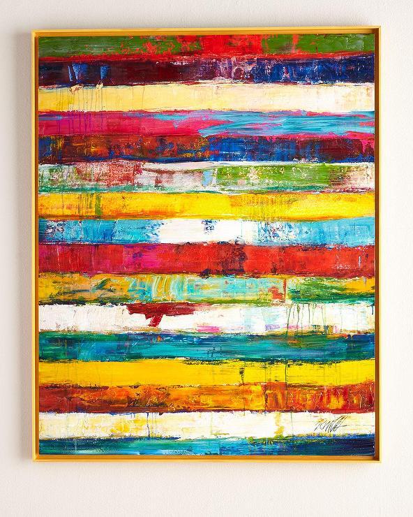 Rfa Fine Art Multicolored Stripes Original Painting