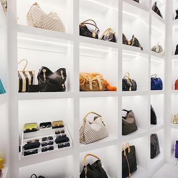 Purse Display Shelves, Contemporary, closet, Neiman Marcus Blog