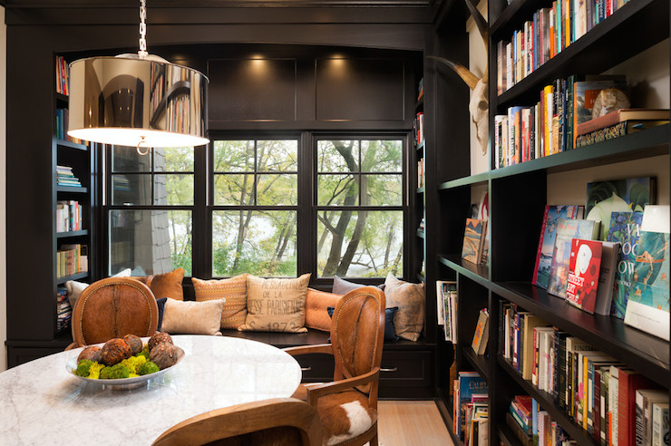 Reading Nook Window Seat Transitional Den Library