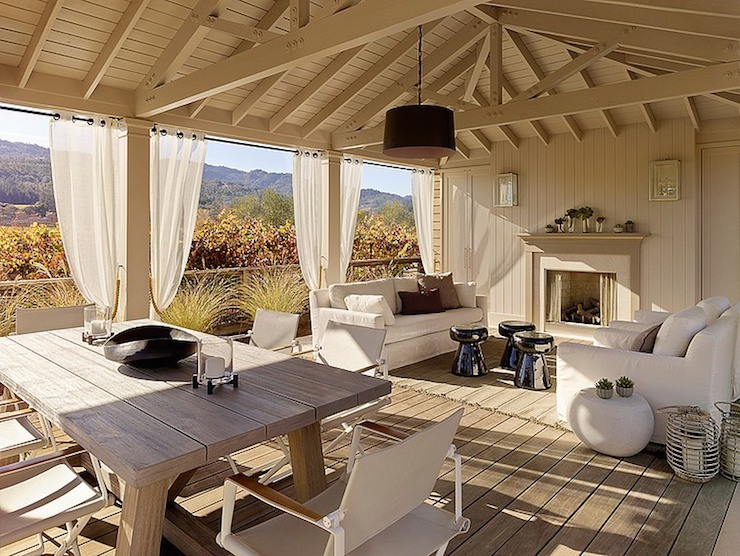 Covered patio table view