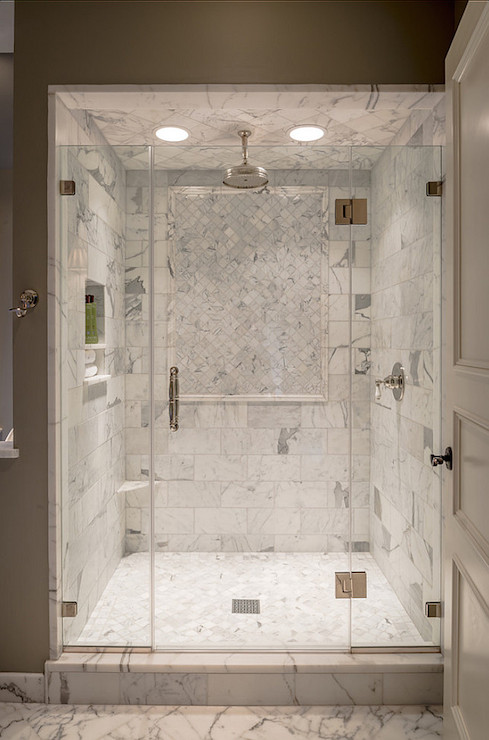 Marble shower ledge transitional bathroom archer for Bathroom ideas marble tile