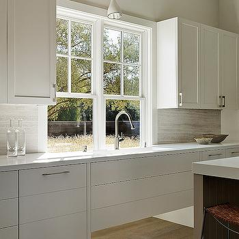 White Upper Kitchen Cabinets With Windows