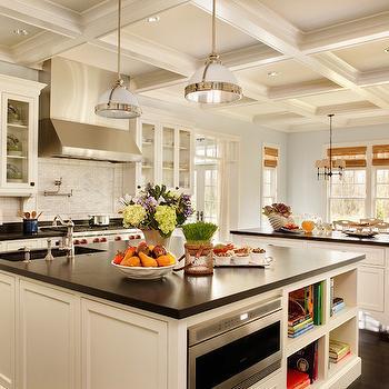 Cambrian Black Granite, Transitional, kitchen, Benjamin Moore Woodlawn Blue, Garrison Hullinger Interior Design