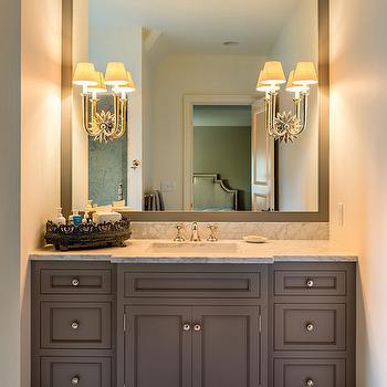 gray sink vanity - Bathroom Vanity Backsplash Ideas
