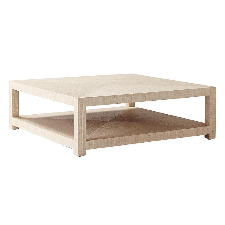 Good Blake Raffia Square Natural Coffee Table With Grasscloth Coffee Table