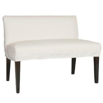 Perfect Layla Grayce Mission Slipcovered Dual Seat White Dining Bench