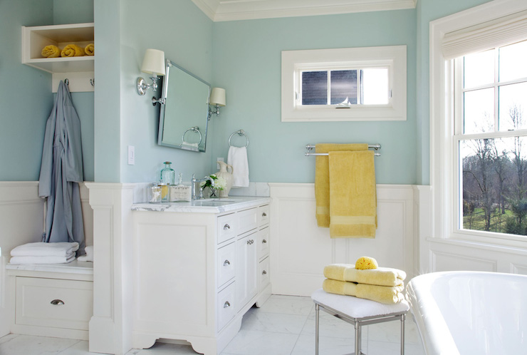 Calcutta marble countertops transitional bathroom for Bathroom yellow paint