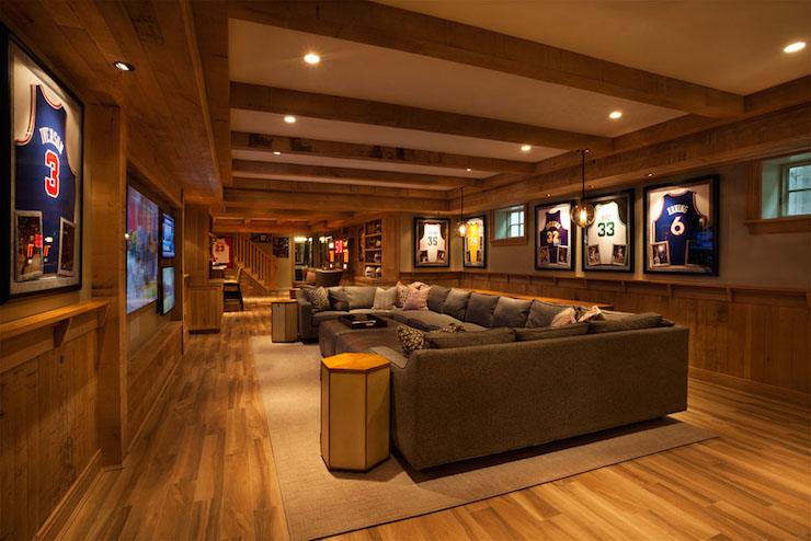 Basement man cave transitional basement garrison Man cave ideas unfinished basement