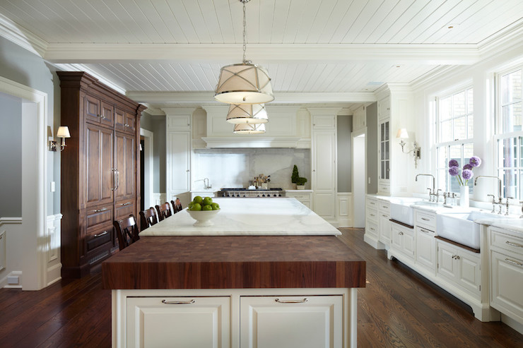 Mixed Island Countertops Transitional Kitchen Yunker