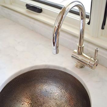 Hammered Oval Sink Transitional Bathroom Giannetti Home