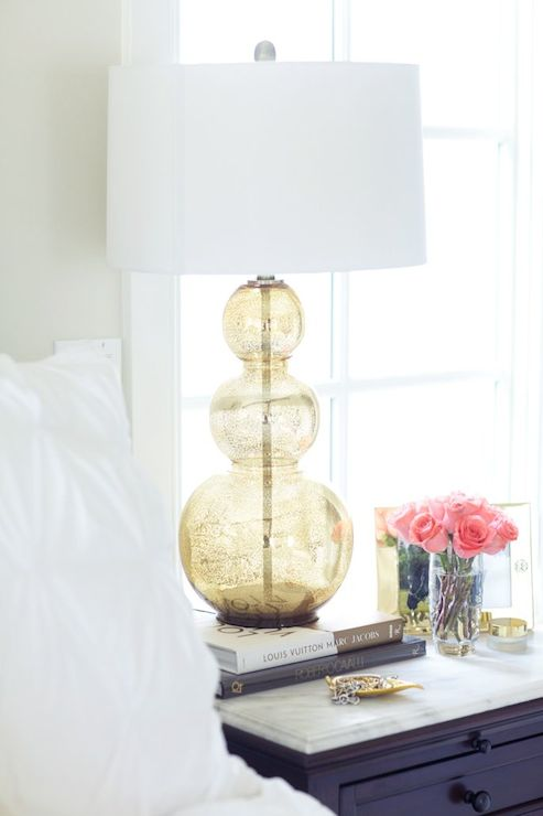 Gold Gourd Lamp - Transitional - bedroom - Pink Peonies