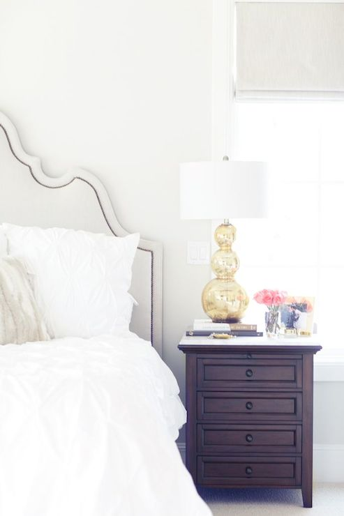 Gold Table Lamp - Transitional - bedroom - Pink Peonies