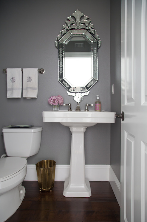 gorgeous powder room painted benjamin moore chelsea gray featuring nickel towel bar adorned with monogrammed hand towels beside a rectangular pedestal sink - Powder Room Pedestal Sink