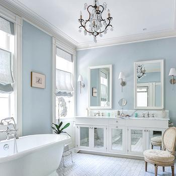 Aqua Chandelier Contemporary Bathroom Sherwin