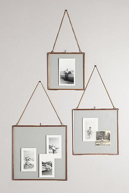 Hinged hanging copper frame for Hanging frames on walls