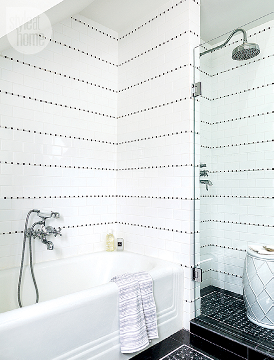 Black And White Shower Tiles Contemporary Bathroom Style At Home