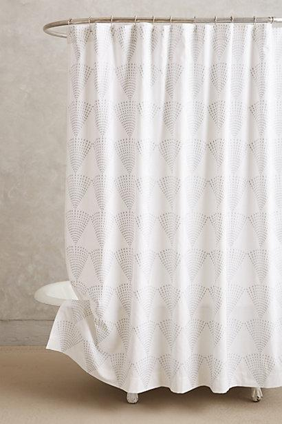 threshold grey and white fretwork shower curtain