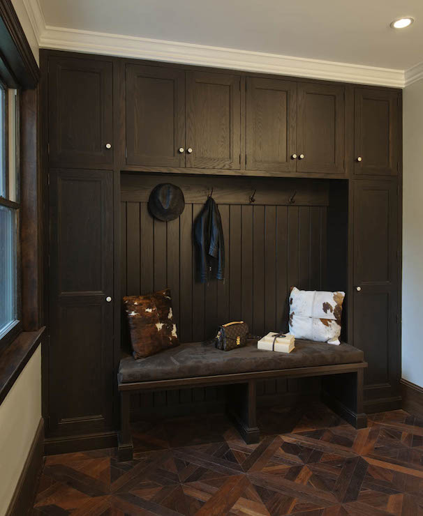 Dark Brown Wood Moldings Transitional Living Room
