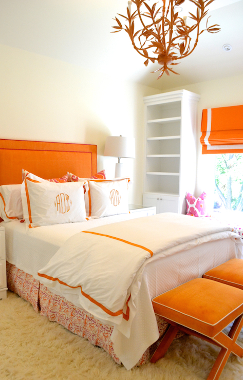 Orange Headboard Contemporary Bedroom Jenkins Interiors
