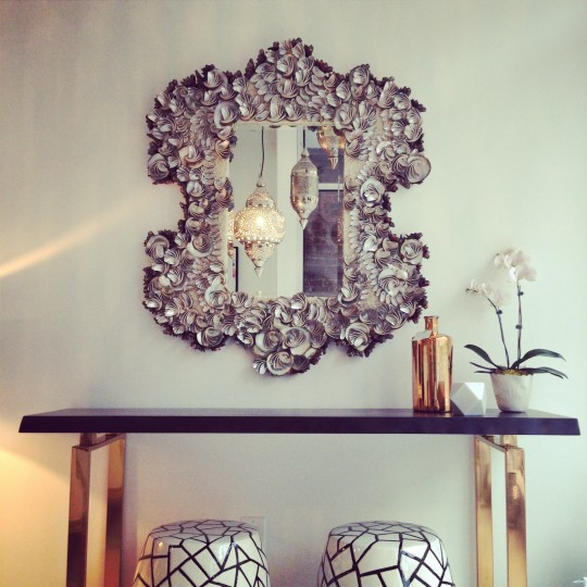 Wood And Chrome Console Table