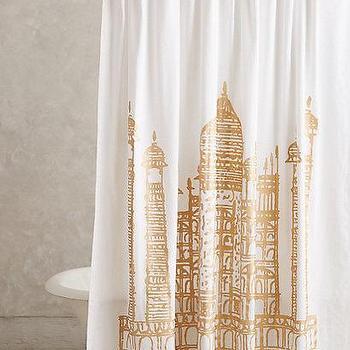Taj Mahal White And Gold Shower Curtain