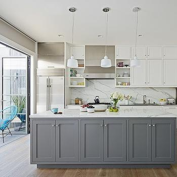 Grey Center Island, Contemporary, kitchen, Feldman Architecture