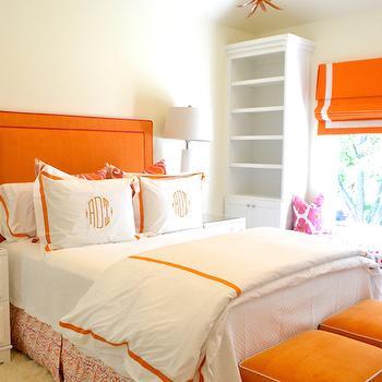 Orange Headboard, Contemporary, bedroom, Jenkins Interiors