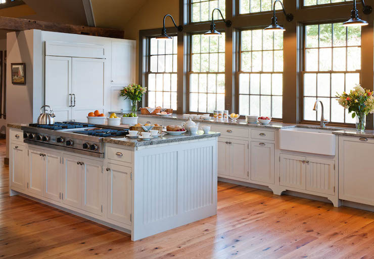 Kitchen island with beadboard trim country kitchen crown point cabinetry - Isolated contemporary design cabin straddles rocks on norwegian island ...