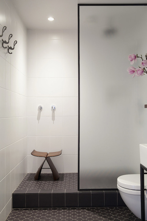 Frosted Glass Shower Partition - Modern - bathroom - Bureaux Limited