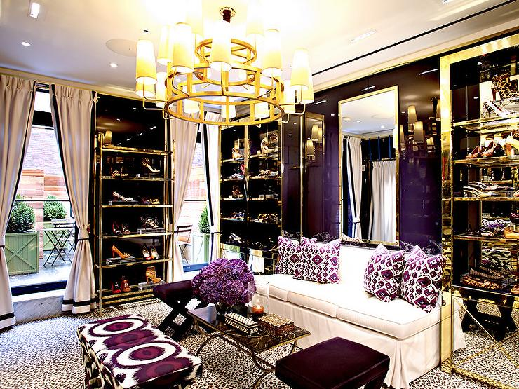 White And Black Closet With Leopard Print Carpeting