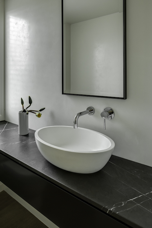 White Washstand Contemporary Bathroom
