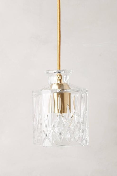 Square Hand Cut Decanter Clear Pendant Lamp View Full Size