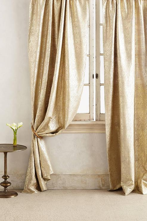 curtains metallic gold curtain pin style fringe