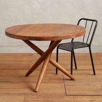 Noir 3 Leg Round Dining Table Distressed Black