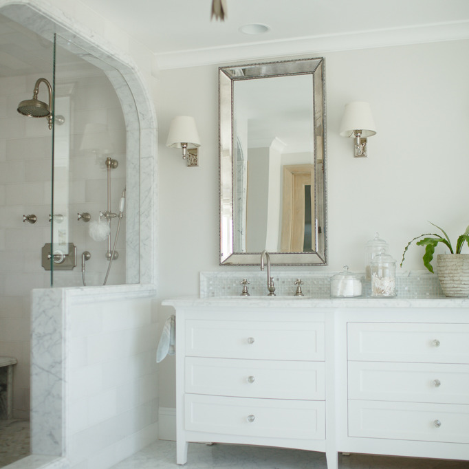 Venetian Beaded Mirror Transitional Bathroom Tiek