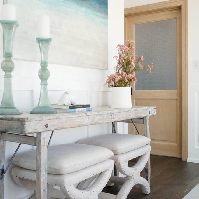 Merveilleux Beautiful Foyer Features Board And Batten Framing A Pair Of Restoration  Hardware Toscane Nailhead Bench Tucked Under Distressed Console Table  Topped With ...