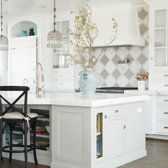 Tile Under Kitchen Cabinets: Marble Quatrefoil Tiles
