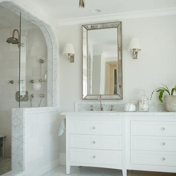 Venetian Beaded Mirror Transitional Bathroom Owens And Davis