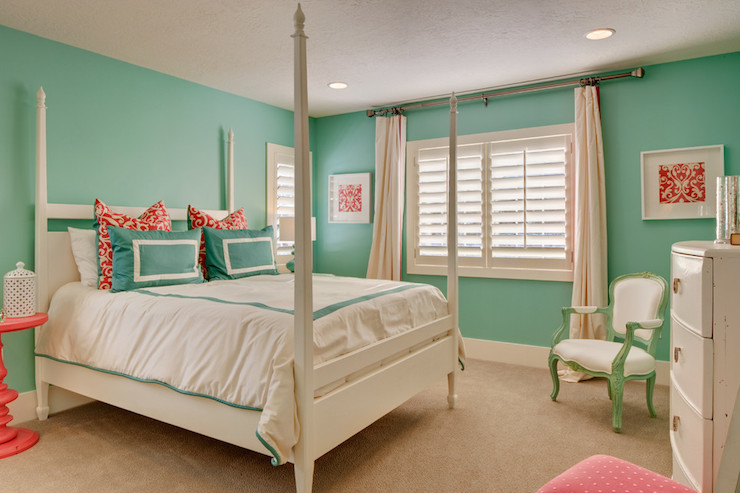 Turquoise Kids Room Transitional Girl S Room Ivory Homes